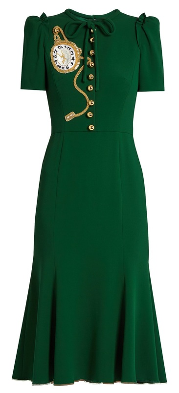 Dolce & Gabbana green crêpe pocket watch midi dress