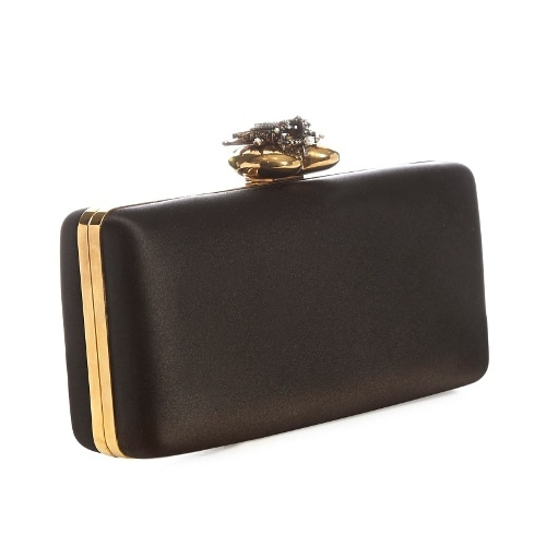 Alexander McQueen Heart-clasp satin box clutch