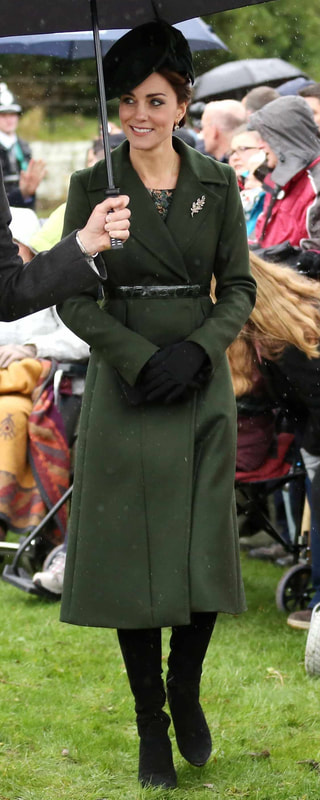 Sportmax Green Long Belted Coat as seen on Kate Middleton, The Duchess of Cambridge.