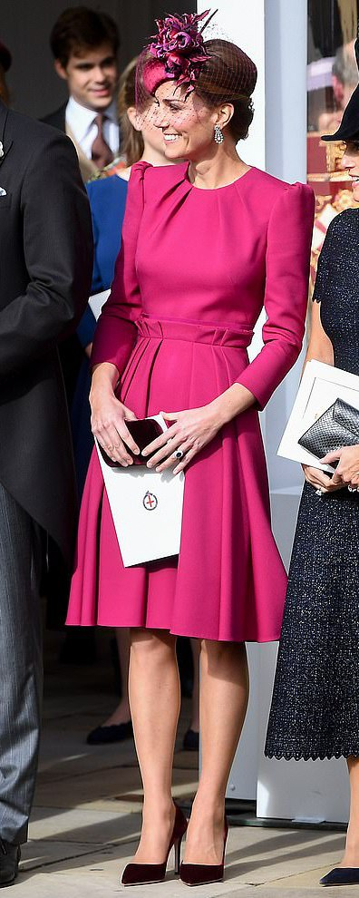 Prada Burgundy Velvet Pumps as seen on Kate Middleton, The Duchess of Cambridge at Wedding of Princess Eugenie and Jack Brooksbank