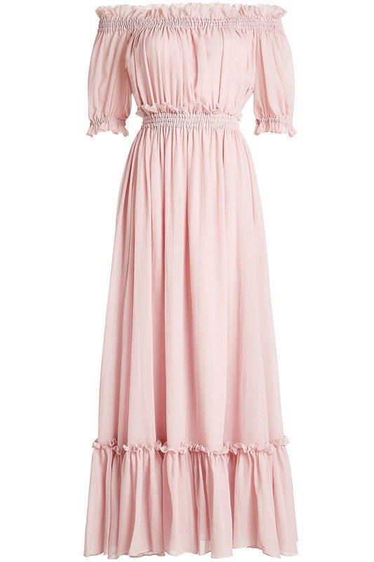 Alexander McQueen Pink Off-Shoulder Dress in Cotton and Silk