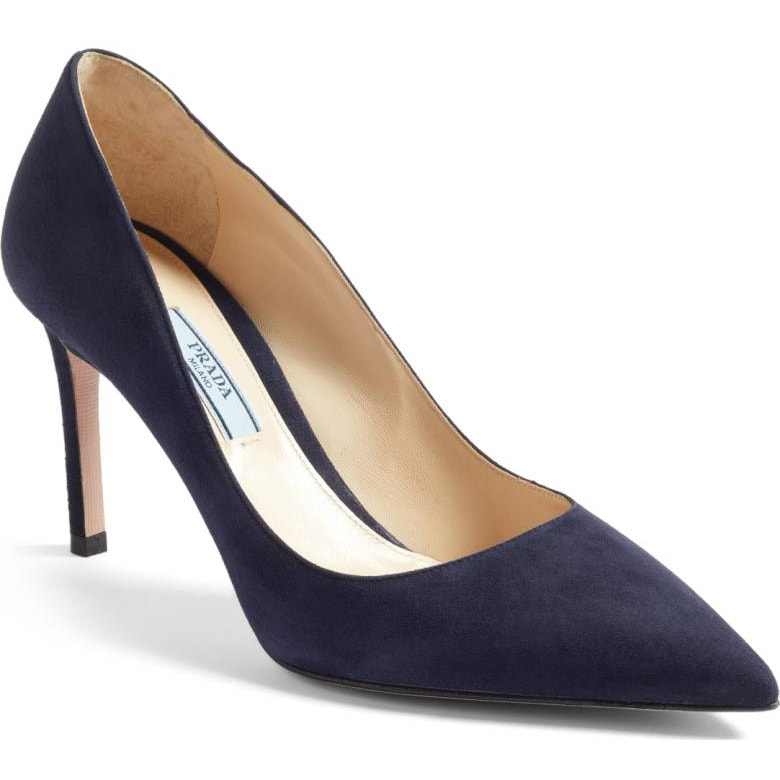 c04d3e577bab Prada Pointy Toe Navy Suede Pumps - Kate Middleton Shoes - Kate s Closet