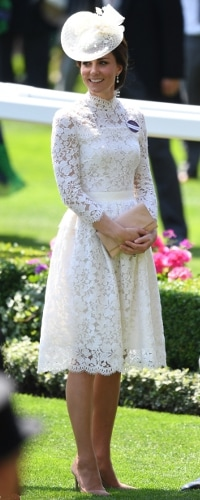 Loeffler Randall Tab Blush Lizard-Effect Leather Clutch as seen on Kate Middleton, The Duchess of Cambridge at Royal Ascot