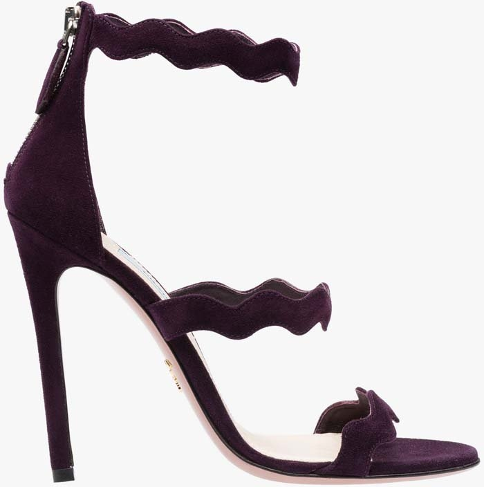 Prada scalloped sandals in plum suede