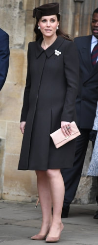 Loeffler Randall Tab Blush Lizard-Effect Leather Clutch as seen on Kate Middleton, The Duchess of Cambridge on Easter Sunday 2018