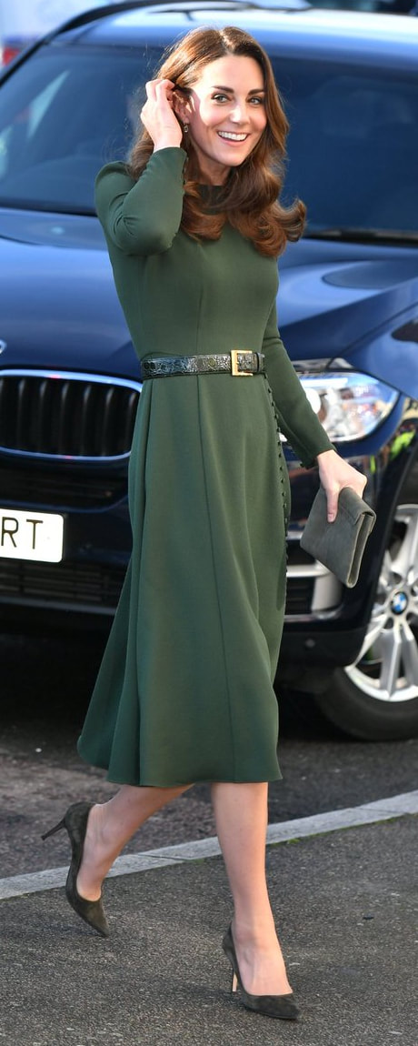 Beulah London Yahvi Olive Green Midi Dress as seen on Kate Middleton, The Duchess of Cambridge