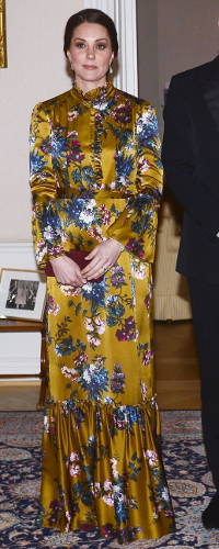 Erdem Stephanie Yellow Gold Floral-Printed Silk Gown as seen on Kate Middleton, The Duchess of Cambridge at Embassy Dinner in Sweden