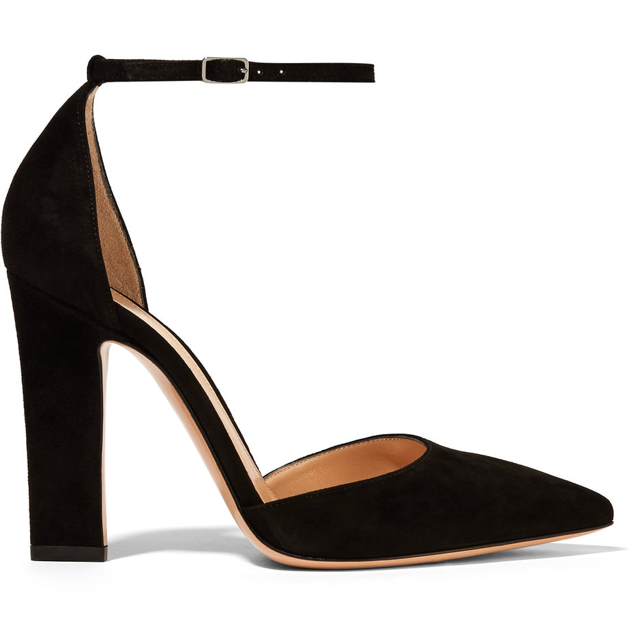 Gianvito Rossi Mila Black Suede Ankle Strap D'Orsay Pumps