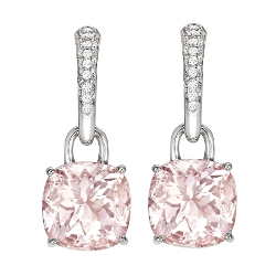KIKI Morganite Cushion Drop & Diamond Earrings
