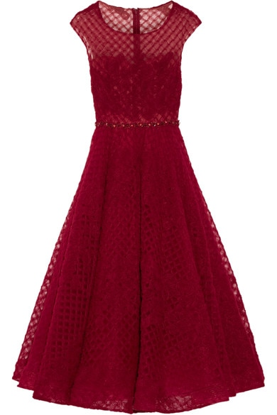 Marchesa Notte claret red embellished tulle midi dress - Resort 2017