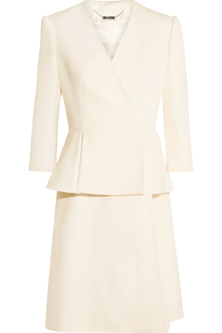 Alexander McQueen ivory wool and silk-blend twill peplum coat