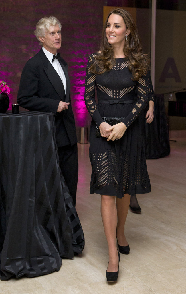 Duchess Of Cambridge Wears Temperley London Emblem Flare