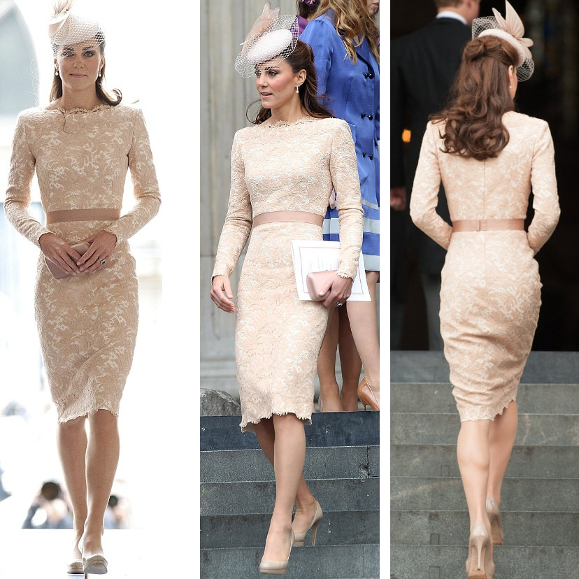 3ba7fa45cd8500 Alexander McQueen Champagne Lace Dress - Kate Middleton Dresses - Kate s  Closet