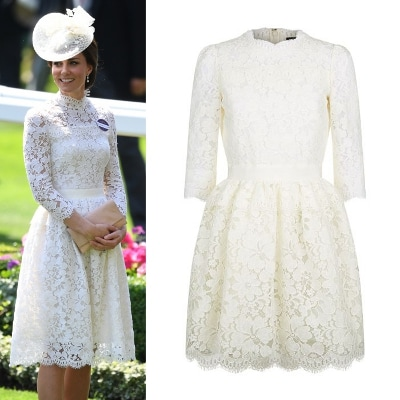 Navy lace dress white collar