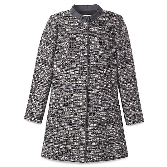 Tory Burch Bettina Grey Tweed Coat