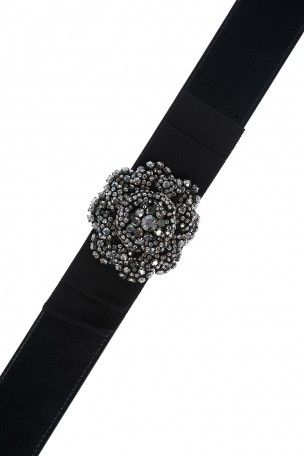Temperley London black crystal bow belt