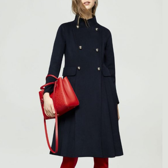 CH Carolina Herrera Navy Double Breasted Wool Coat