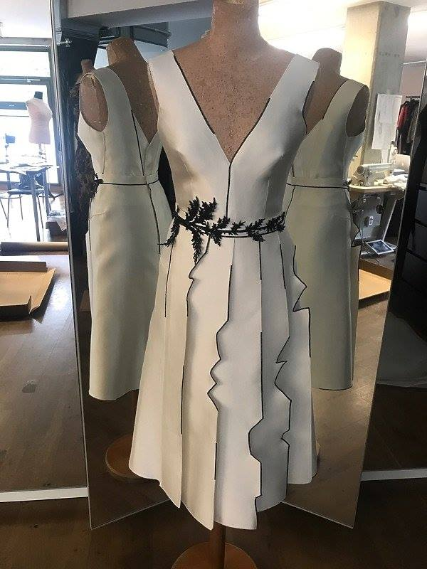 Gosia Baczynska white sleeveless dress with jagged pleats