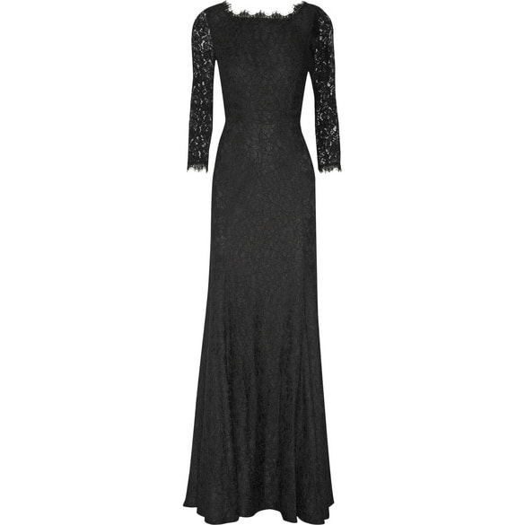 DVF Zarita Black Lace Gown