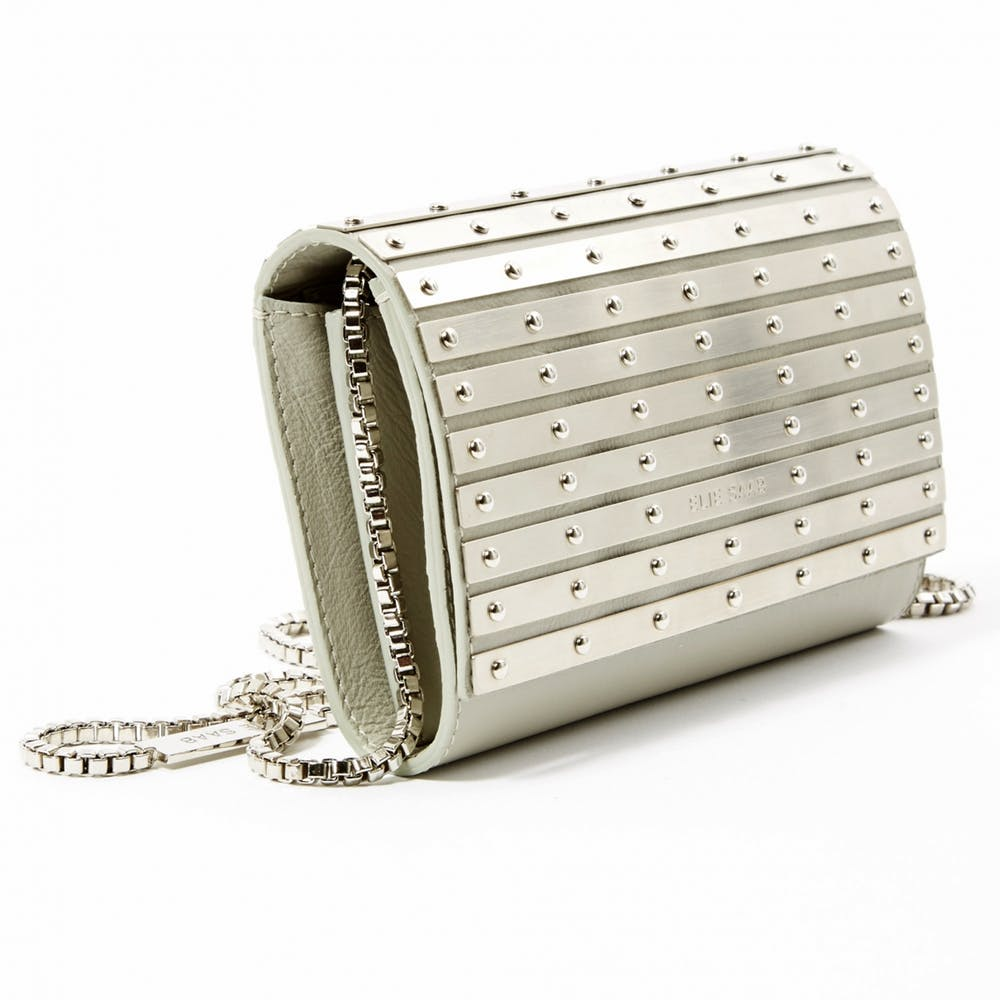 Elie Saab Abat-Jour metallic and grey leather clutch