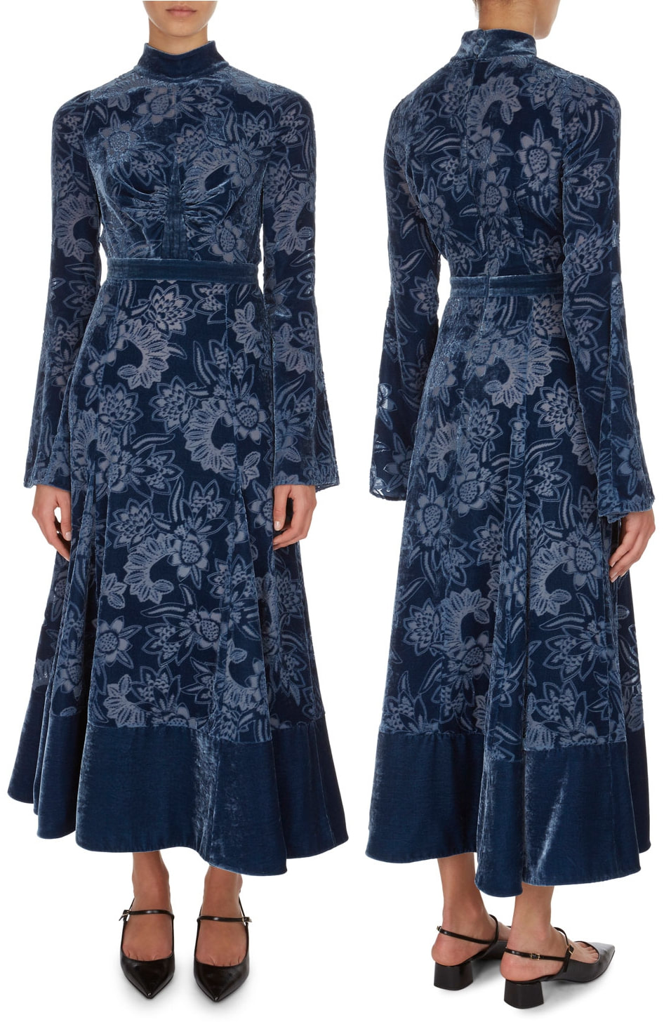 Erdem Christina Devore Velvet Midi Dress