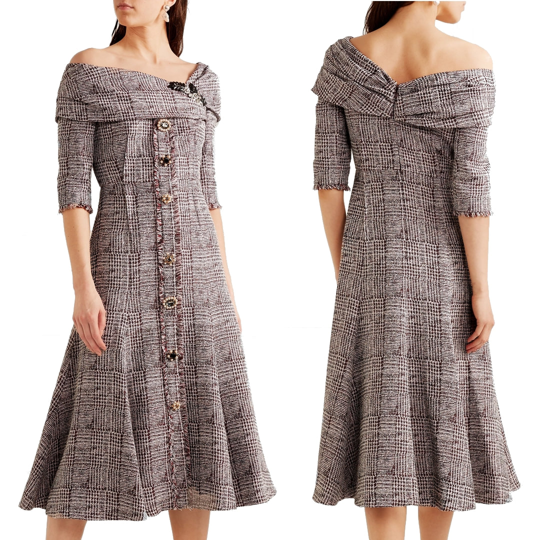 Erdem Iman Tweed Midi Dress