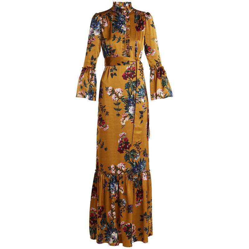 Erdem Stephanie Yellow Gold Floral-Printed Silk Gown