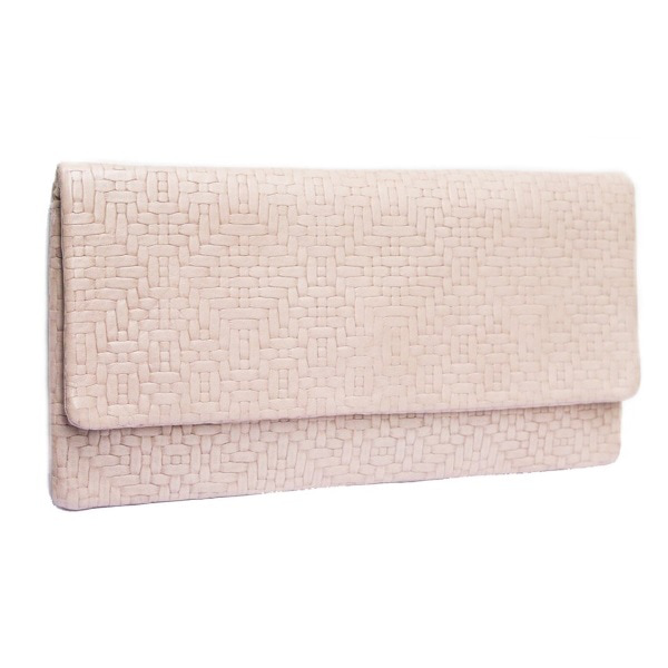 Etui Bags Cream Woven Leather Clutch