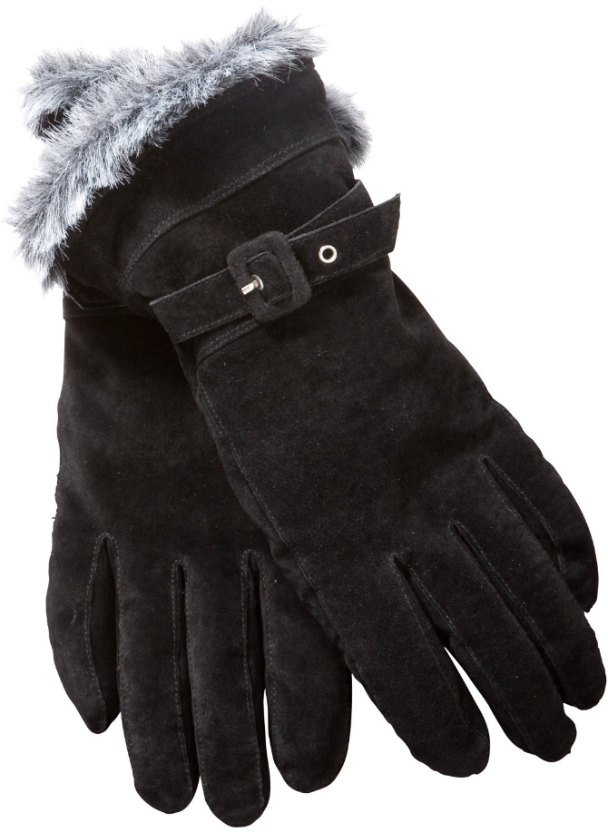 John Lewis Women's Black Faux Fur Trim Suede Gloves