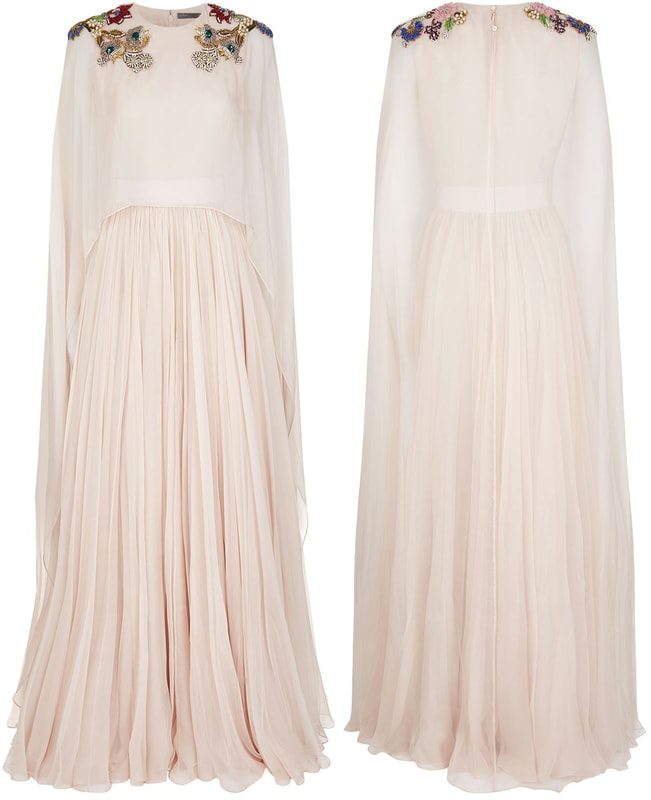 ALEXANDER MCQUEEN Floral-embellished silk-chiffon gown