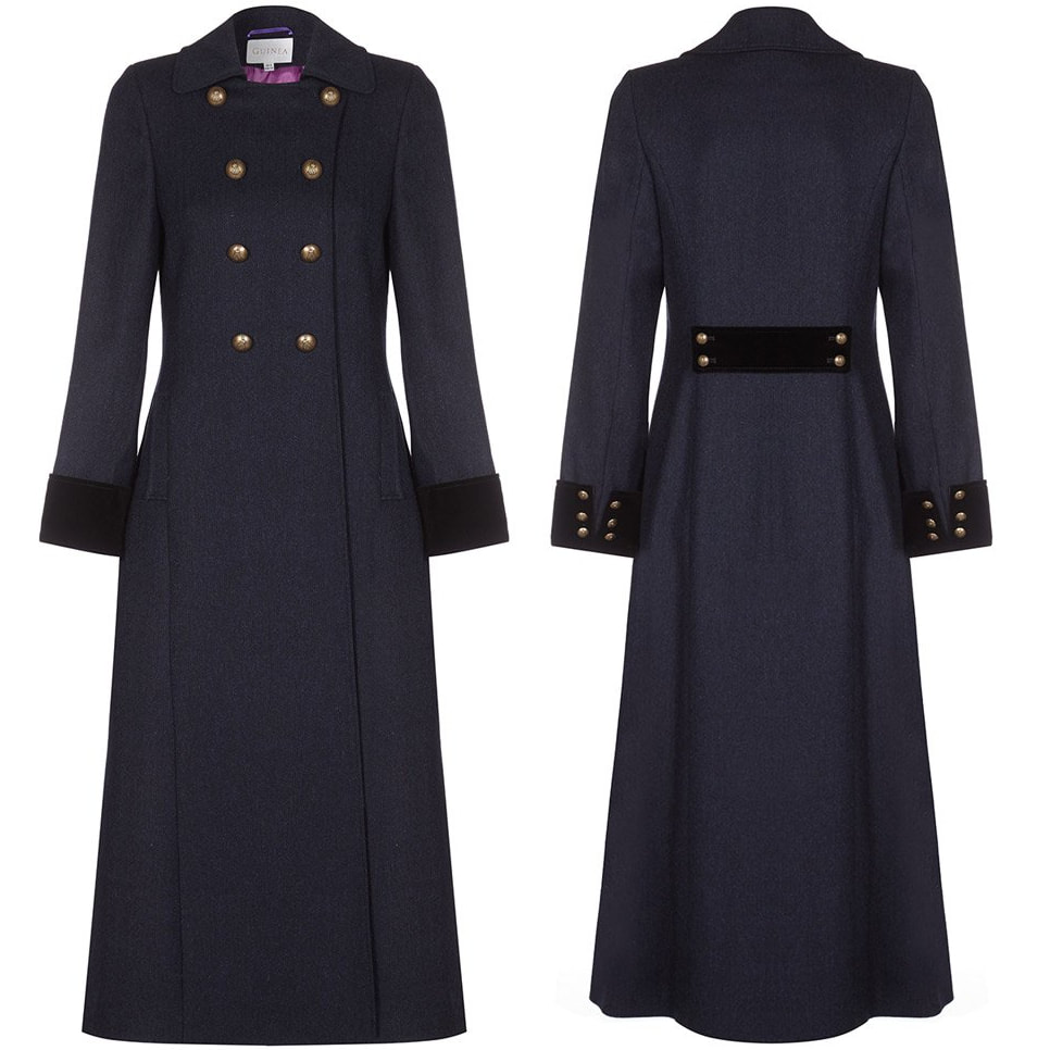 Guinea London Navy Herringbone Wool Trench Coat