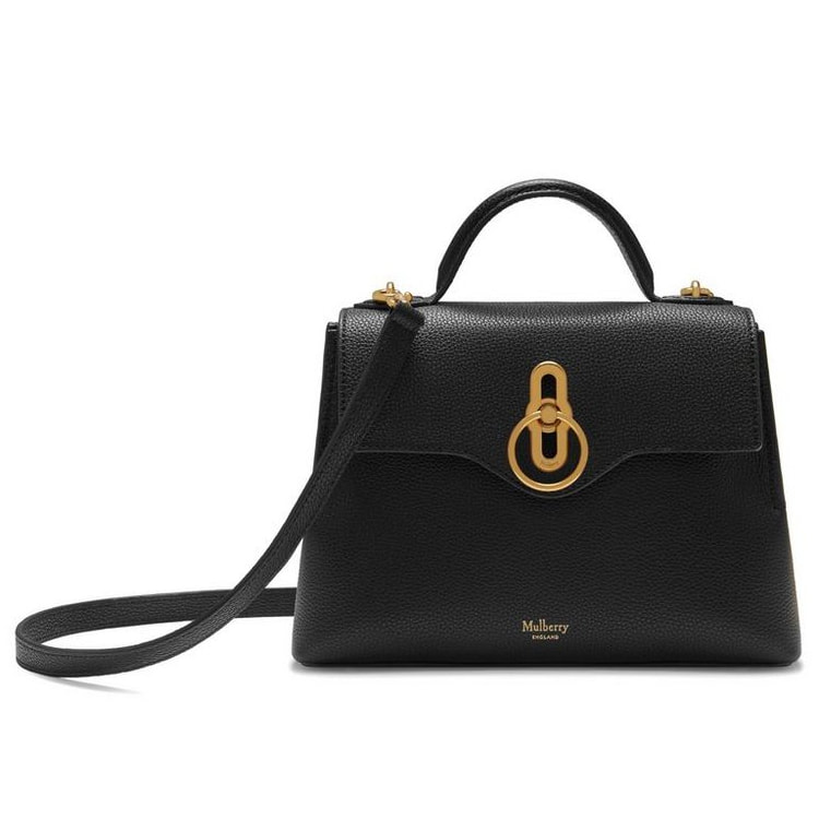 Mulberry Mini Seaton Bag in Black Grain Leather