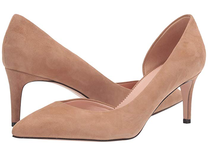 J.Crew 65mm Lucie and Colette d'Orsay suede pump in ashen brown