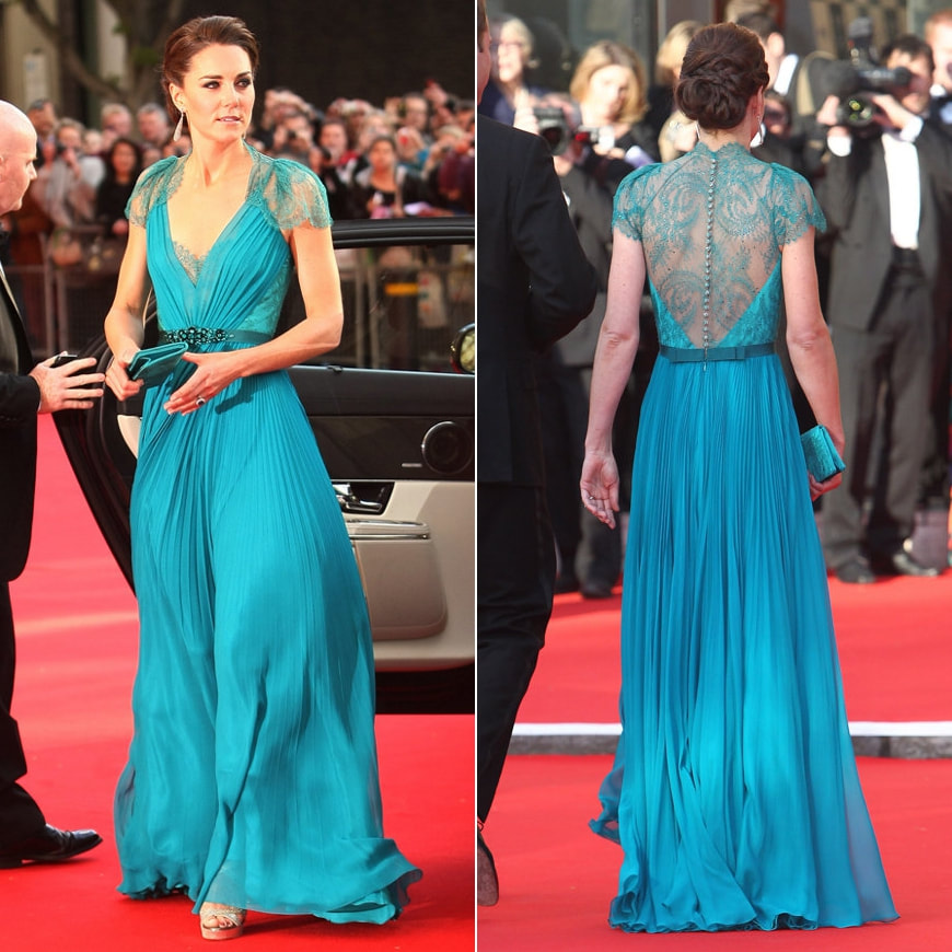 Jenny Packham Aspen Teal Gown Kate Middleton Dresses Kates Closet