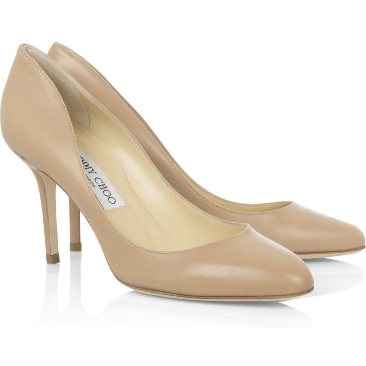 Jimmy Choo 'Gilbert' Nude Leather Pumps