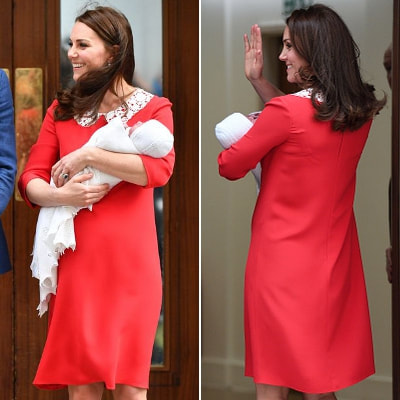 Jenny Packham Red Peter Pan Collar Shift Dress as seen on Kate Middleton, the Duchess of Cambridge