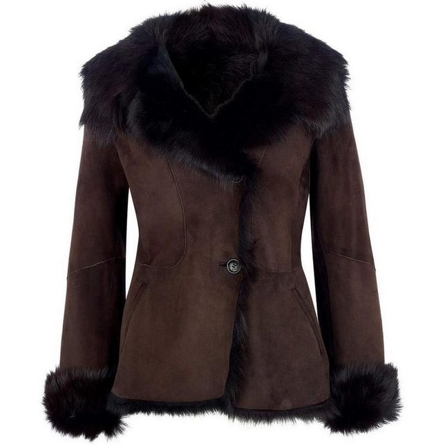 LK Bennett Darwin Choc Brown Shearling Coat
