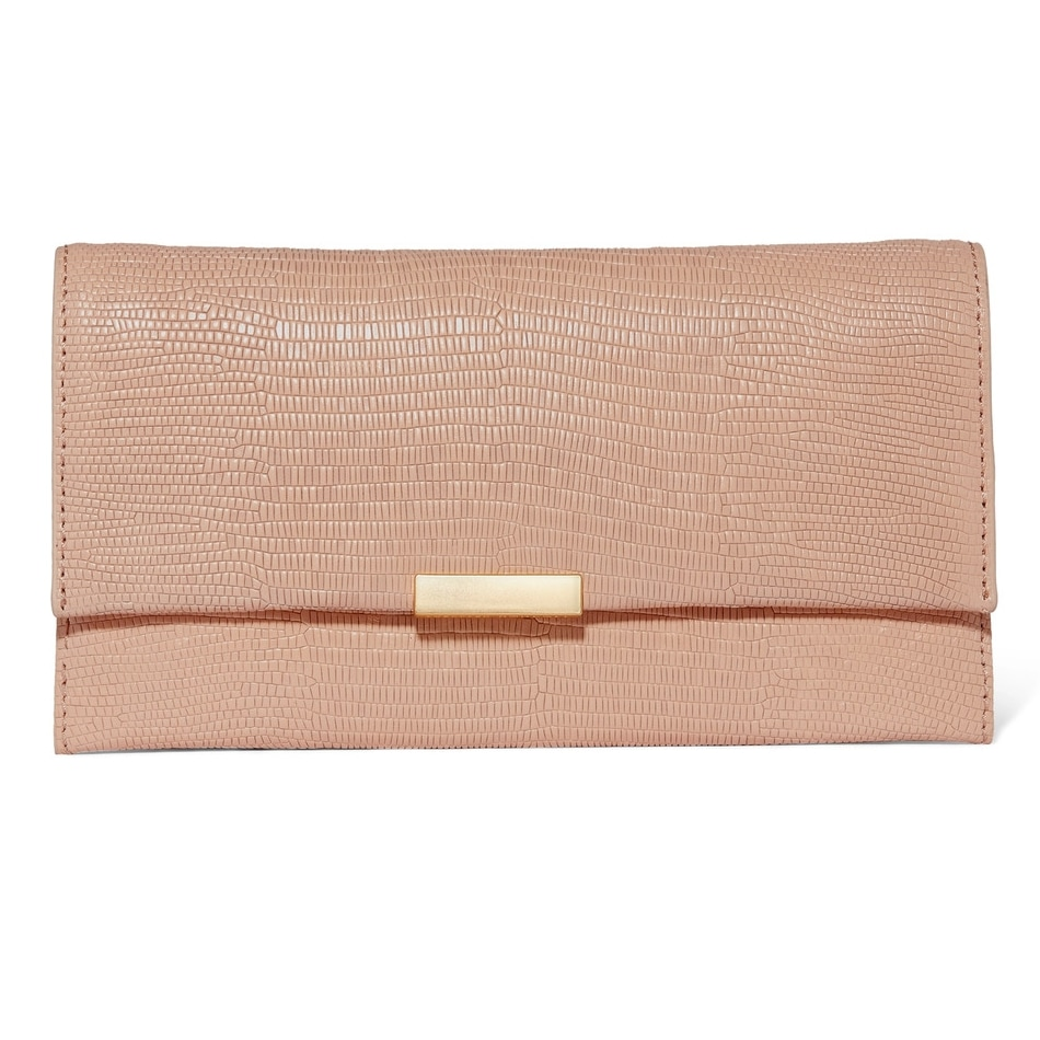 Loeffler Randall Tab Blush Lizard-Effect Leather Clutch