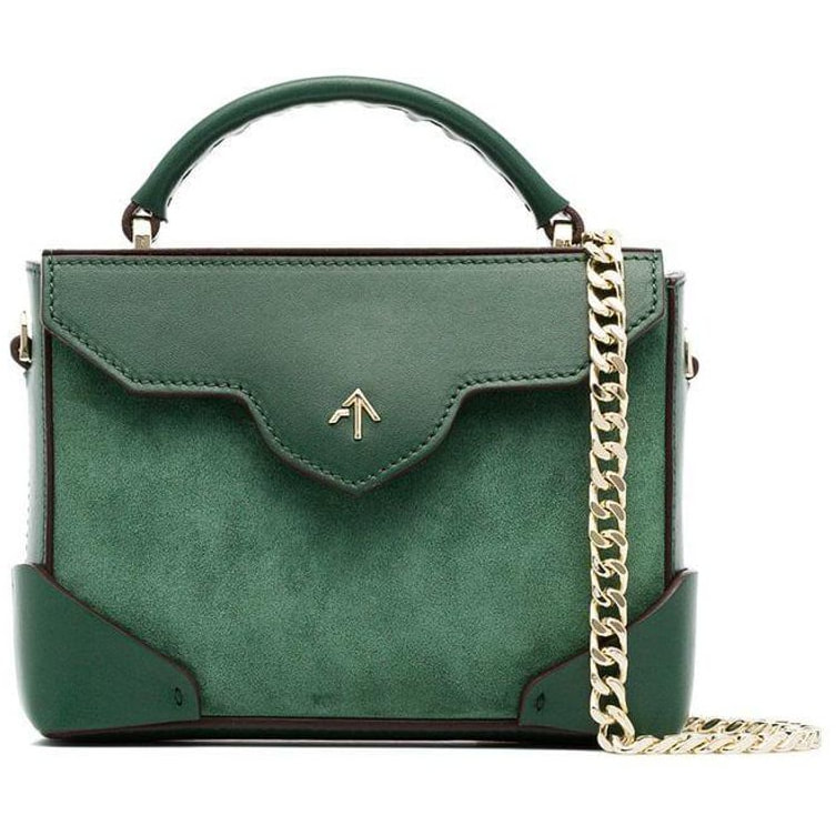 Manu Atelier Green Micro Bold Leather Top Handle Bag