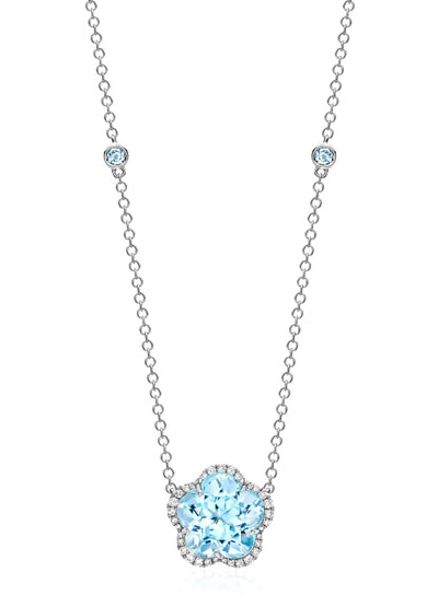 KIKI Eden Blue Topaz Flower Necklace