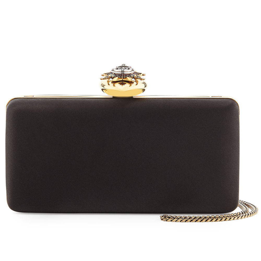 Alexander McQueen Black Satin Heart-Clasp Frame Clutch Bag