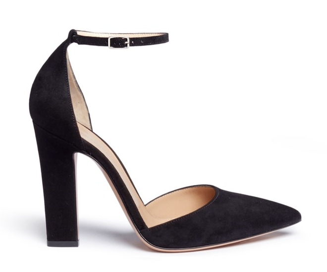 Gianvito Rossi Ankle Strap Suede D'orsay Pumps