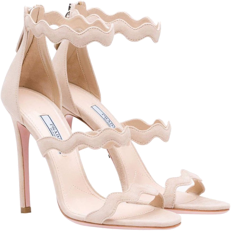 Prada Scalloped Sandals in Beige Suede
