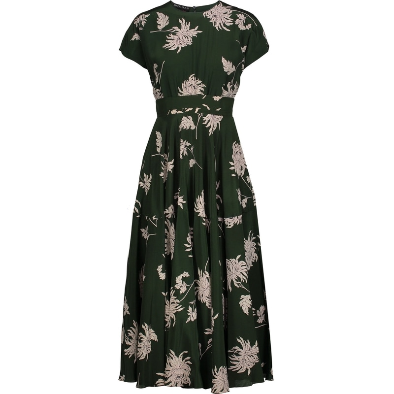 Rochas Green Dahlia-Print Midi Dress