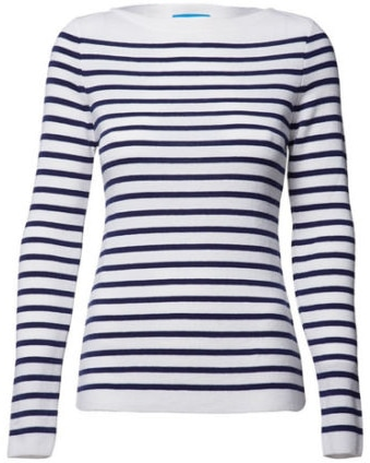 MiH Jeans Drew Breton sweater in white/cobalt