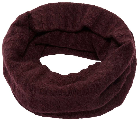 Brora Cashmere Fine Cable Snood in Bordeaux