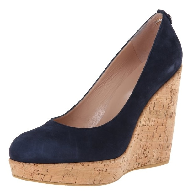 Stuart Weitzman Navy Suede Corkswoon Wedges