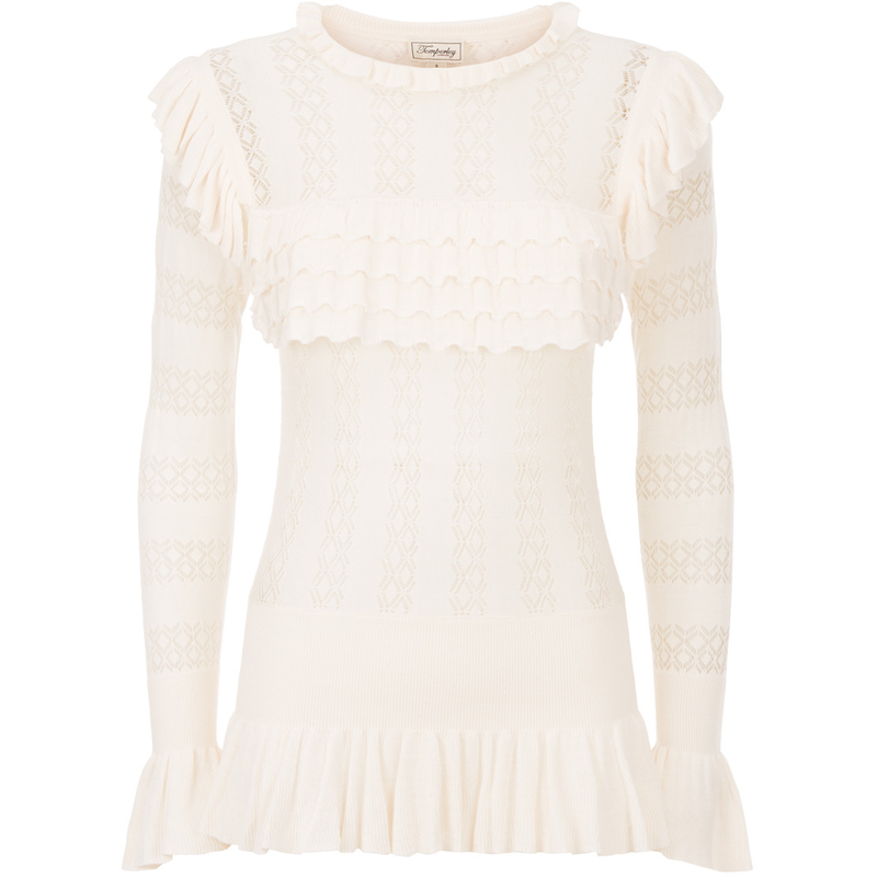Temperley London Cypre Almond Pointelle Frill Top