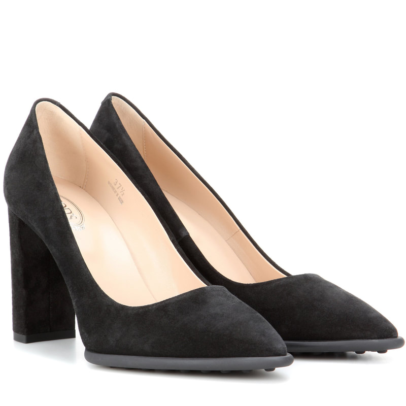 Tod's Black Suede Block Heel Pumps
