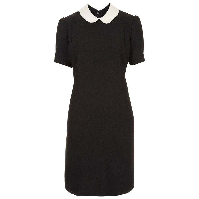Topshop Black Peter Pan Contrast Collar Shift Dress